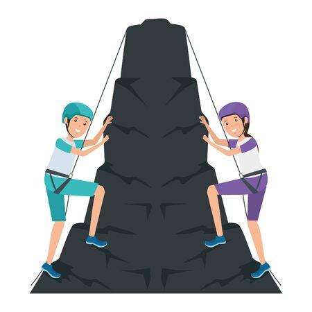 Jeune couple escalade avec des cordes vector illustration design caractères Vecteurs