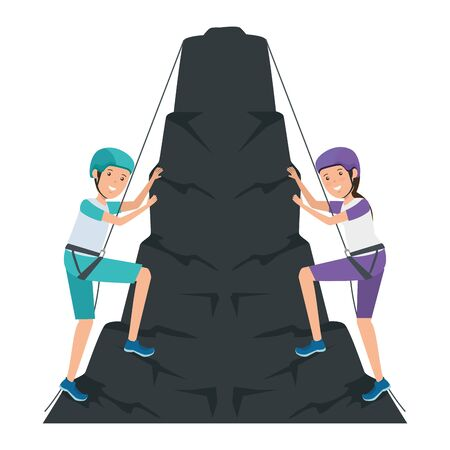 young couple climbing with ropes characters vector illustration design 向量圖像
