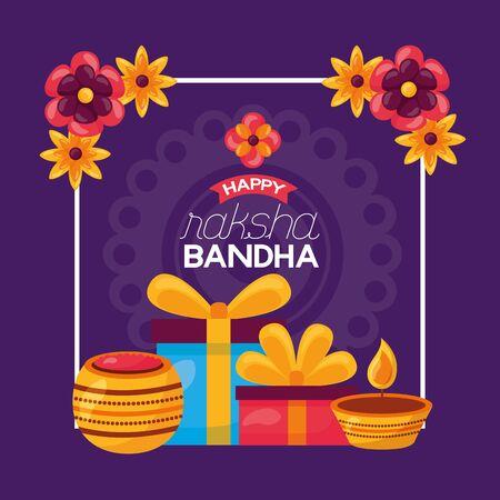 happy raksha bandhan gifts candless flowers vector illustration Ilustração