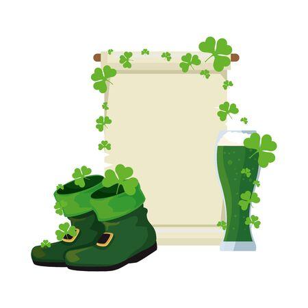 leprechaun boots and beer saint patrick day vector illustration design Standard-Bild - 130486501