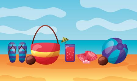 summer time holiday bag cocktail sandals ball coconut beach vector illustration