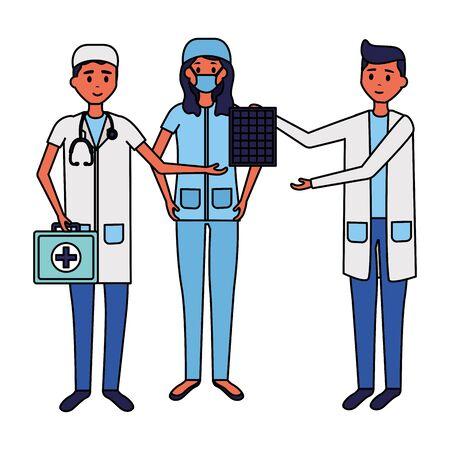 medical woman and men doctors characters professional vector illustration Фото со стока - 130486507