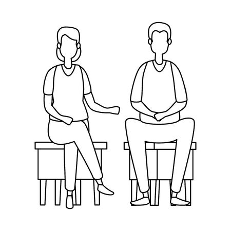 elegant business couple seated in benchs vector illustration design
