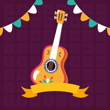 guitar music garland celebration viva mexico vector illustration Ilustrace