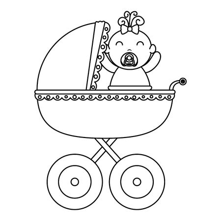 baby cart with little girl character vector illustration design