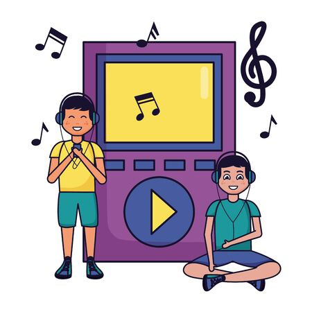 two boys with earphones mp3 musical notes listening music vector illustration