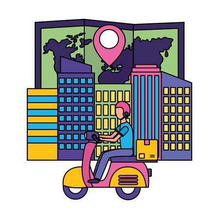 man in motrocycle map navigation city fast delivery vector illustration Illustration