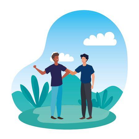 interracial young men friends celebrating in the park vector illustration design Çizim