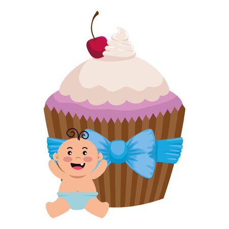 cute little baby boy with sweet cupcake vector illustration design