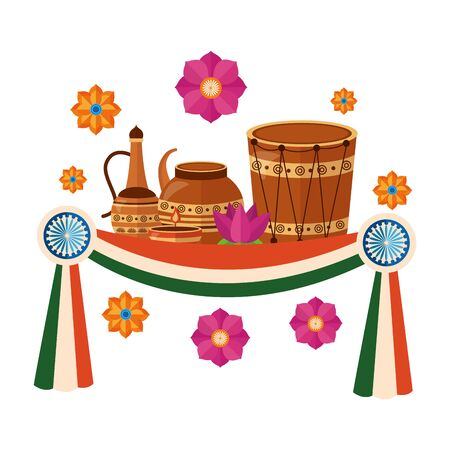 indian ceramic pots with drum and lotus flowers vector illustration design
