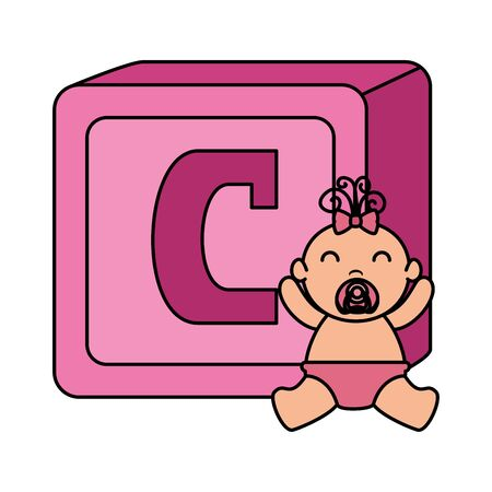 alphabet block toy with baby girl vector illustration design