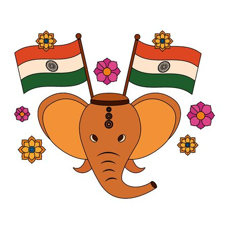 indian elephant ganesha with indian flags vector illustration design