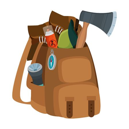 camping travel bag with equipment vector illustration design