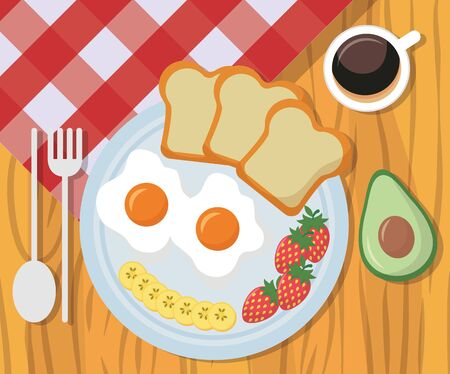 breakfast delicious bread eggs strawberries vector illustration