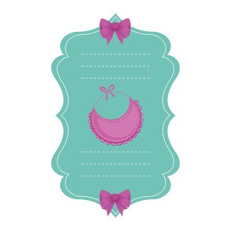 carte de douche de bébé avec conception d'illustration vectorielle bavoir