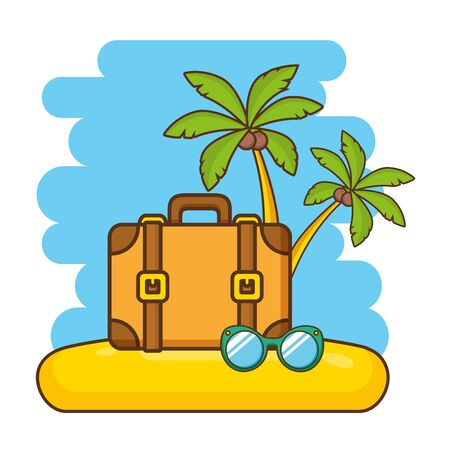 beach vacations suitcase sunglasses palms  vector illustration