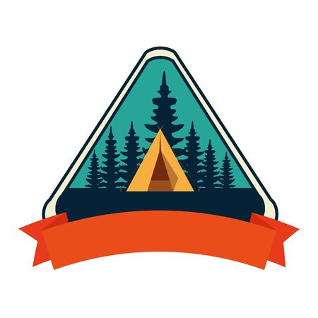 frame with camping zone and tent scene vector illustration design