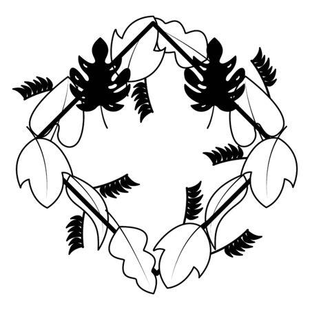 wreath leaves foliage natural white background decoration vector illustration Archivio Fotografico - 130491093