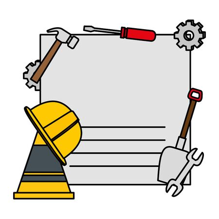 card with set construction tools vector illustration design