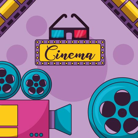 cinema movie 3d glasses camera reel film vector illustration