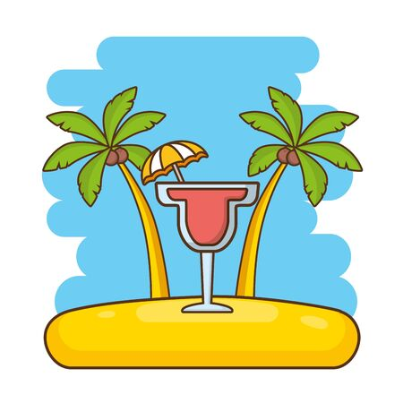 beach vacations cocktail with umbrella palms  vector illustration Illustration