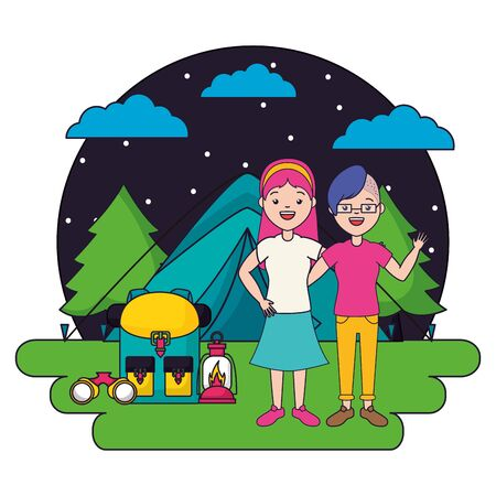 woman camping tent backpack lantern vector illustration