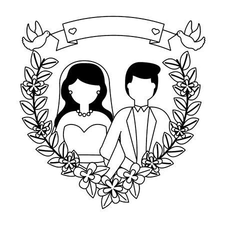 bride and groom love flowers wedding vector illustration Archivio Fotografico - 130455357