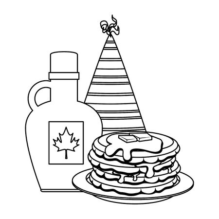sweet maple syrup bottle with pancake and hat vector illustration design Çizim