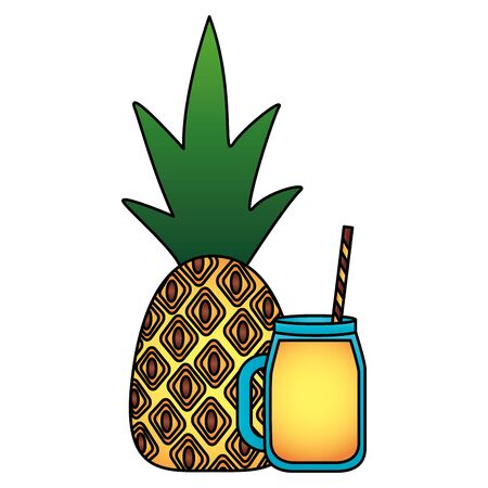 summer time holiday juice pineapple fresh vector illustration