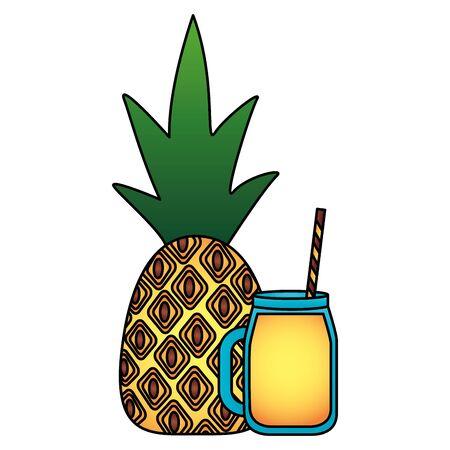 summer time holiday juice pineapple fresh vector illustration