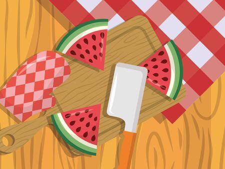 watermelon sweet fruit fresh knife vector illustration