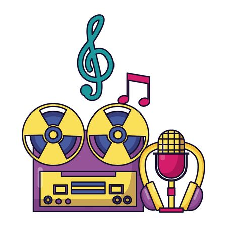reel tape recorder headphones microphone equipment festival music vector illustration