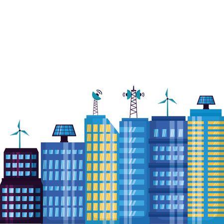smart city urban town technology antenna solar panel vector illustration Иллюстрация