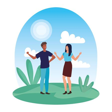 young interracial lovers couple celebrating in the landscape vector illustration