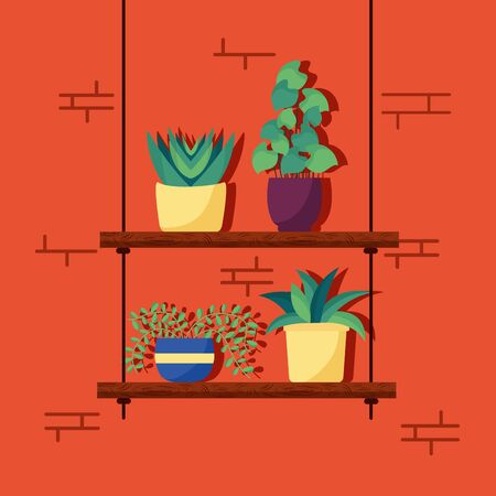 decorative house cute plants interior nature vector illustration Illustration