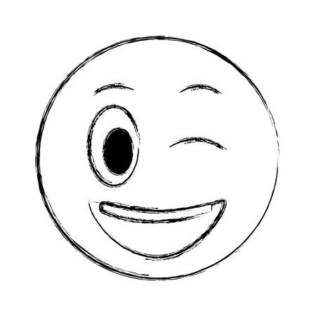 smiley emoticon face expression cartoon vector illustration Stock Illustratie