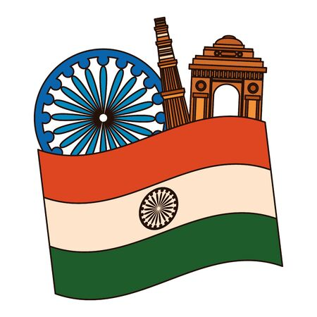 indian flag with gateway mosque and ashoka chakra vector illustration design  イラスト・ベクター素材