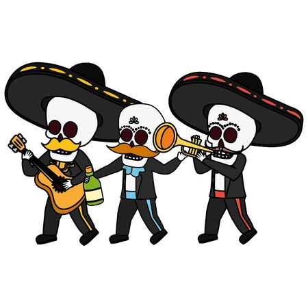 skeletons musician with guitar maraca and tequila viva mexico vector illustration