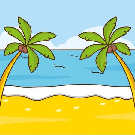 beach palms sea sand vacations image vector illustration Stock fotó - 130492195