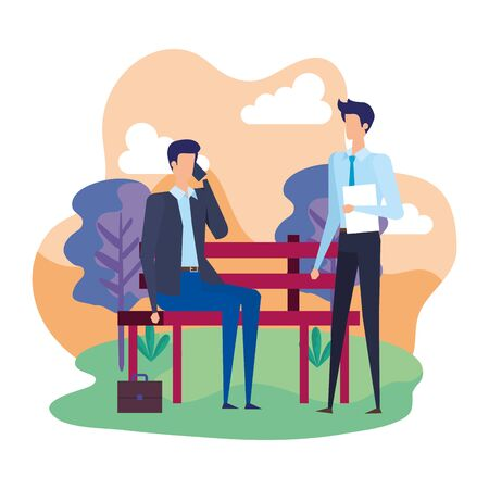 businessmen calling with cellphones in the park chair vector illustration design Illustration