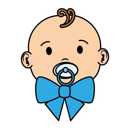 cute little baby boy with pacifier character vector illustration design Stok Fotoğraf - 130492202