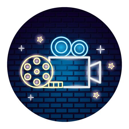 projector camera strip film movie time neon vector illustration vector illustration Illustration