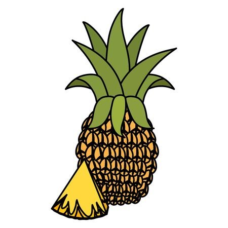 pineapple tropical fruits on wooden table vector illustration