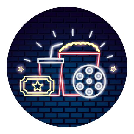 cinema neon set icons vector illustration design