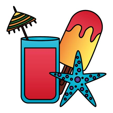 summer time holiday cocktail popsicle starfish vector illustration