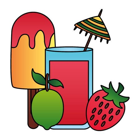 summer time holiday cocktail strawberry lemon ice cream vector illustration