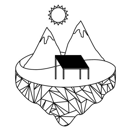 eco friendly mountains solar panel energy vector illustration
