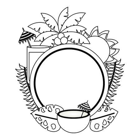 summer time holiday badge coconut sun juice palm tree foliage vector illustration Illustration