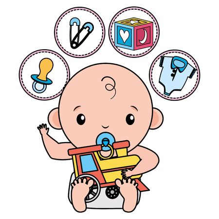 cute little baby boy with train and set toys vector illustration design