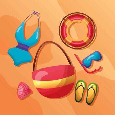 summer time holiday sand bag lifebuoy flip flops bikini snorkel shell vector illustration